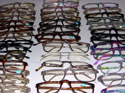 Reading glasses donated by Birmingham Vision Care